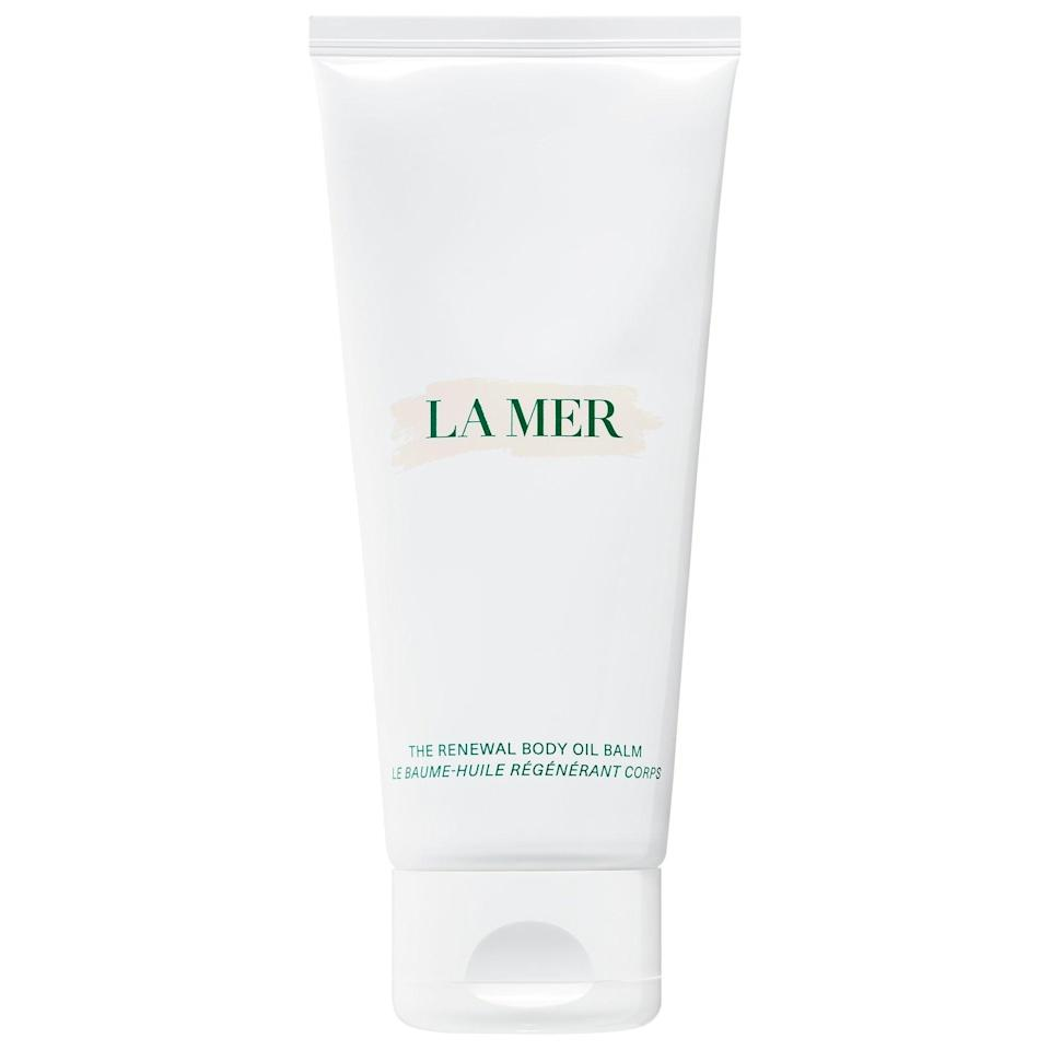 """<h3>La Mer The Renewal Body Oil Balm</h3> <br>""""Before you give me a side-eye for the price of this body balm, hear me out: I hate to get attached to products with high price tags, but it was hard not to fall in love with this formula. The best way to describe the oil-balm is as if you're wrapping your body in the most luxurious silk bedding, so consider it a worthy investment. Layering this on a few nights a week feels like a sensorial indulgence — and that's very much appreciated during these times."""" — Diaz<br><br><strong>La Mer</strong> The Renewal Body Oil Balm, $, available at <a href=""""https://go.skimresources.com/?id=30283X879131&url=https%3A%2F%2Fwww.sephora.com%2Fproduct%2Fla-mer-the-renewal-body-oil-balm-P454083%23donotlink"""" rel=""""nofollow noopener"""" target=""""_blank"""" data-ylk=""""slk:Sephora"""" class=""""link rapid-noclick-resp"""">Sephora</a><br>"""