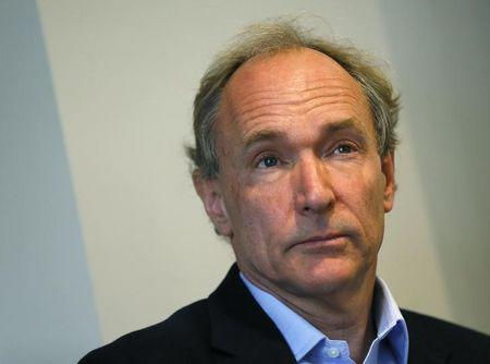 World Wide Web founder Berners-Lee lattends a news conference in London