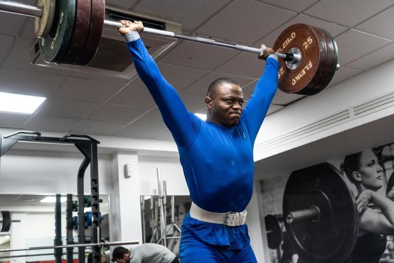 Cyrille Tchatchet II, training in a gym at Middlesex University in north London, was reduced to living under a bridge in his early days in England