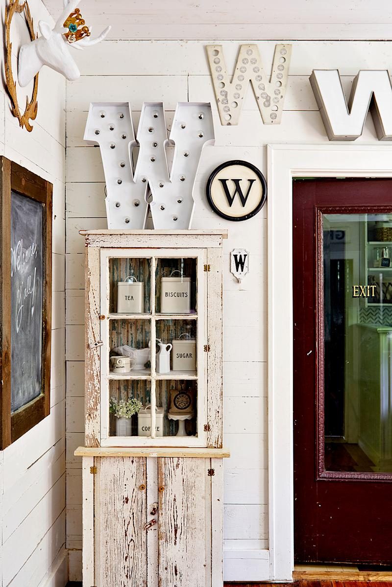 Rustic wood white cabinet Ws on wall
