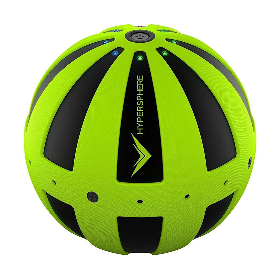 <p>Foam rolling is imperative for those who work out regularly, but no one wants to carry a ginormous roller with them all the time, especially when traveling. You get the effects of a foam roller with the compact <span>Hyperice Hypersphere Vibrating Therapy Ball</span> ($150). The ball can be used all over the body to activate, loosen, and soothe muscles.</p>