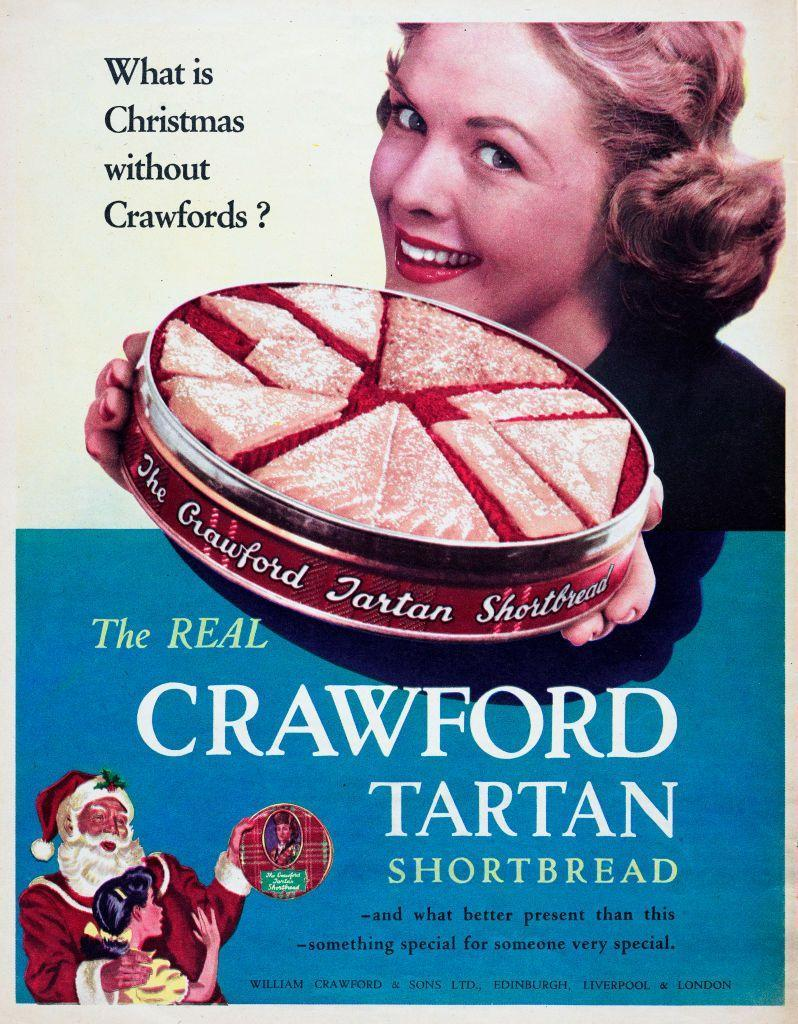 <p>This vintage ad for a Crawford Tartan shortbread tin plays up the fact that this delicious British treat makes for a great present or a suitable Christmas dessert... or both!</p>