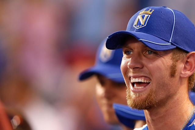 KANSAS CITY, MO - JULY 09: National League All-Star Stephen Strasburg #37 of the Washington Nationals smiles during the State Farm Home Run Derby at Kauffman Stadium on July 9, 2012 in Kansas City, Missouri. (Photo by Jamie Squire/Getty Images)