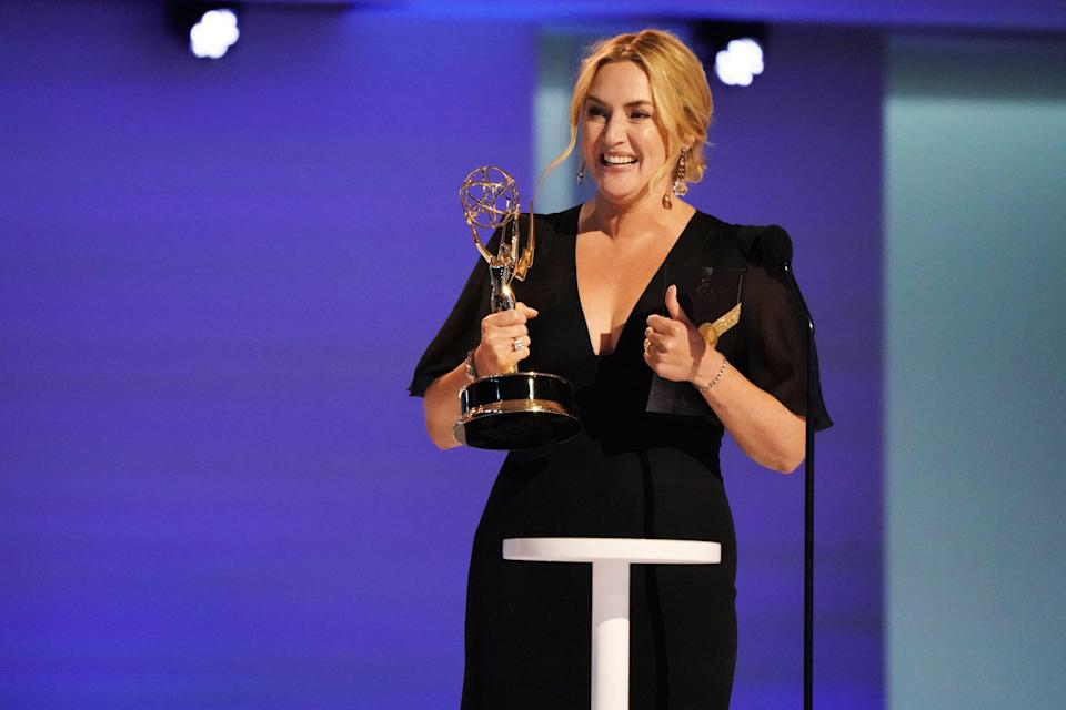 """Kate Winslet accepts the award for outstanding lead actress in a limited or anthology series or movie for """"Mare of Easttown."""""""