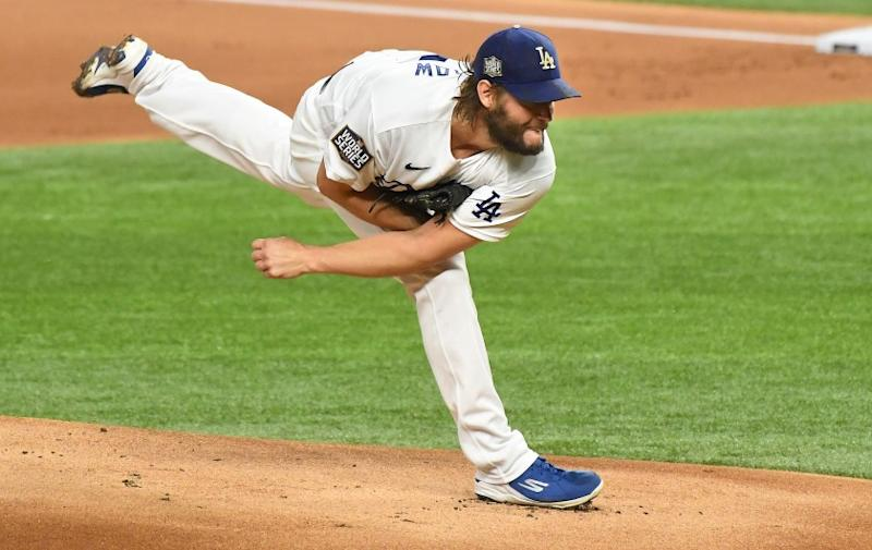 ARLINGTON, TEXAS OCTOBER 20, 2020-Dodgers pitcher Clayton Kershaw throws a pitch aginst the Rays.