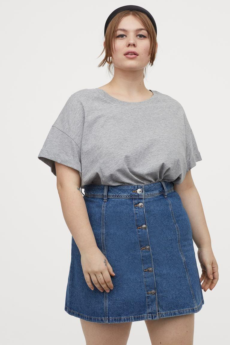"<p>The buttons on this <a href=""https://www.popsugar.com/buy/HampM--line-Denim-Skirt-581997?p_name=H%26amp%3BM%2B%20A-line%20Denim%20Skirt&retailer=www2.hm.com&pid=581997&price=25&evar1=fab%3Aus&evar9=35329485&evar98=https%3A%2F%2Fwww.popsugar.com%2Ffashion%2Fphoto-gallery%2F35329485%2Fimage%2F47550203%2FHM--line-Denim-Skirt&list1=shopping%2Cdenim%2Csummer%20fashion%2Cfashion%20shopping&prop13=mobile&pdata=1"" class=""link rapid-noclick-resp"" rel=""nofollow noopener"" target=""_blank"" data-ylk=""slk:H&amp;M+ A-line Denim Skirt"">H&amp;M+ A-line Denim Skirt</a> ($25) are too cute.</p>"