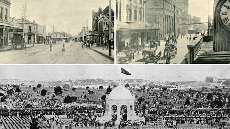 Chapel Street in Melbourne in top left, George Street in Sydney in top right and Centennial Park at bottom in 1901.