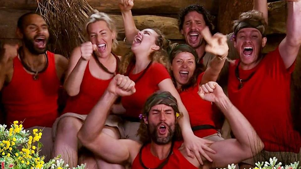 I'm A Celebrity…Get Me Out Of Here! 2021 final seven contestants Travis Varcoe, Jess Eva, Abbie Chatfield, Toni Pearen, Colin Fassnidge, Grant Denyer and Ash Williams (centre front)
