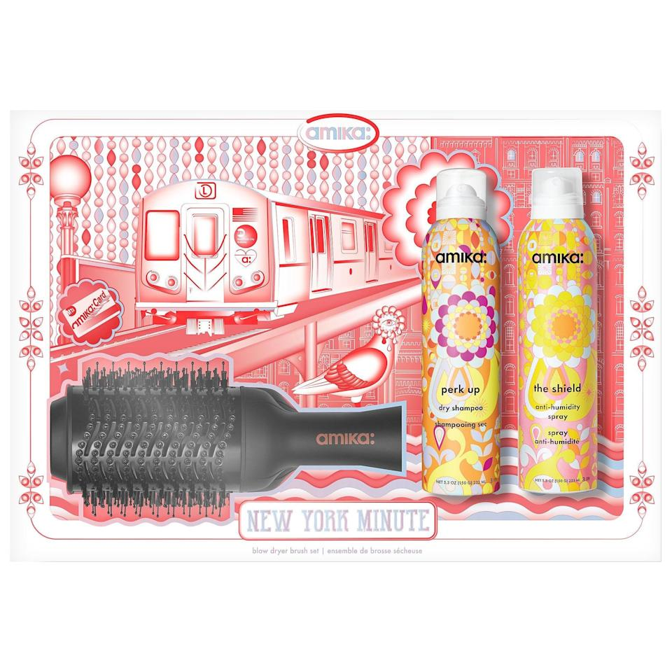"""<br><br><strong>Amika</strong> New York Minute Hair Blow Dryer Brush Set, $, available at <a href=""""https://go.skimresources.com/?id=30283X879131&url=https%3A%2F%2Fwww.sephora.com%2Fproduct%2Famika-new-york-minute-holiday-set-P461416%3Ficid2%3Dproducts%2520grid%3Ap461416"""" rel=""""nofollow noopener"""" target=""""_blank"""" data-ylk=""""slk:Sephora"""" class=""""link rapid-noclick-resp"""">Sephora</a>"""