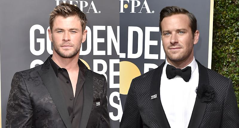 Chris Hemsworth and Armie Hammer caused a stir at the Golden Globes. (Photo: Getty Images)