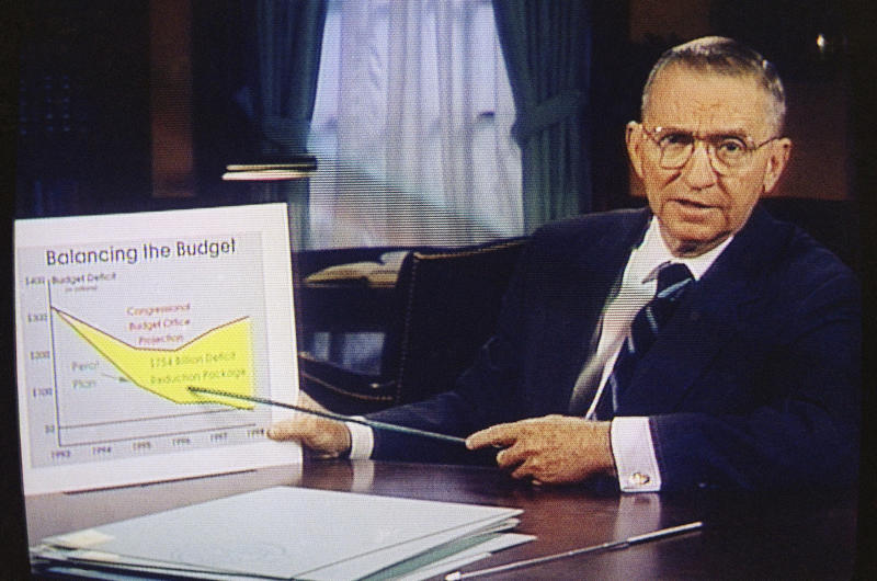 FILE – In this image from video, Ross Perot points to a budget deficit chart in a paid 30-minute television commercial, during a media preview in Dallas on Oct. 16, 1992. On Friday, July 19, 2019, The Associated Press reported on stories circulating online incorrectly asserting that the Texas billionaire left $100 million to the Trump 2020 campaign when he died. Social media users began circulating the false claim after it was posted by a satire site shortly after Perot's death on July 9. (AP Photo/File)