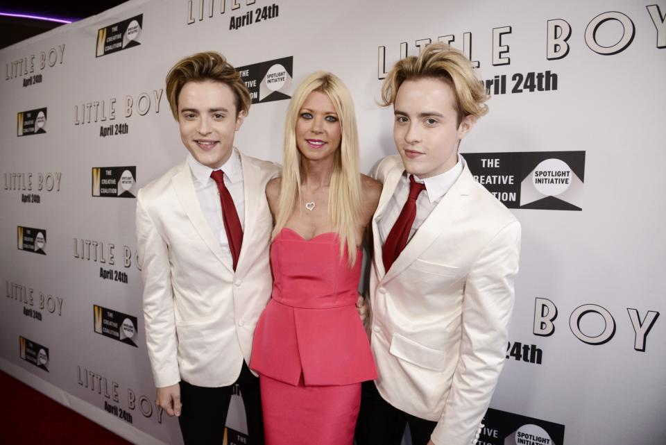 """Tara Reid and Jedward seen at Open Road Films Los Angeles Premiere of """"Little Boy"""" at Regal Cinemas LA Live Stadium 14 on Tuesday, April 14], 2015, in Los Angeles, CA. (Photo by Dan Steinberg/Invision for Open Road Films/AP Images)"""