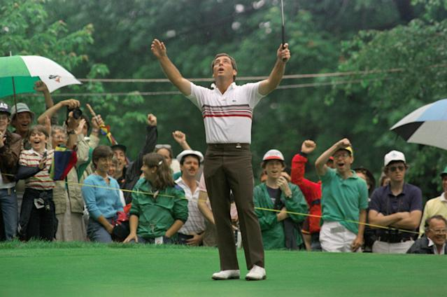 """<div class=""""caption""""> Zoeller celebrates a 68-foot birdie putt on the second hole of the 1984 U.S. Open playoff at Winged Foot. </div> <cite class=""""credit"""">Bettmann</cite>"""