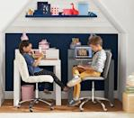 """<p><strong>pottery barn</strong></p><p>potterybarnkids.com</p><p><strong>$349.00</strong></p><p><a href=""""https://go.redirectingat.com?id=74968X1596630&url=https%3A%2F%2Fwww.potterybarnkids.com%2Fproducts%2Fparsons-mini-desk%2F&sref=https%3A%2F%2Fwww.housebeautiful.com%2Fshopping%2Ffurniture%2Fg35205213%2Fbest-kids-desks%2F"""" rel=""""nofollow noopener"""" target=""""_blank"""" data-ylk=""""slk:BUY NOW"""" class=""""link rapid-noclick-resp"""">BUY NOW</a></p><p>If you're trying to fit a desk (or two) into a small room, this mini desk is perfect. The compact piece has a drawer to host schoolwork, supplies, crafts, or anything else your kid is working on. Plus, you can buy a hutch for added storage and organization.</p>"""