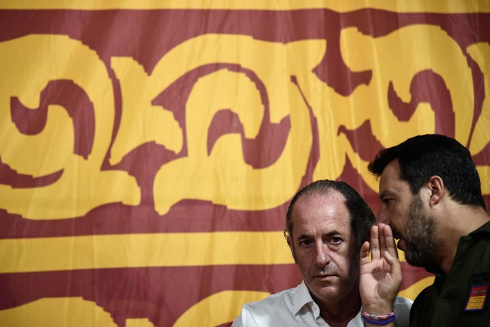 Head of the Lega Nord (Northern League) party and former Italy's Interior Minister, Matteo Salvini (R) chats with President of Veneto Region Luca Zaia during a party rally in Conselve, near Padua, on August 30, 2019. - Italy's political crisis was triggered on August 8 when Matteo Salvini withdrew his far-right League party from the governing coalition with M5S and called for a snap elections, looking to capitalise on the party surging in polls. (Photo by Marco BERTORELLO / AFP)        (Photo credit should read MARCO BERTORELLO/AFP via Getty Images) (Photo: MARCO BERTORELLO via Getty Images)