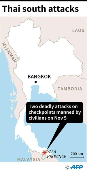 Map of Thailand locating Yala province where at least fifteen people were killed and another four injured in attacks by suspected Muslim rebels on November 5 (AFP Photo/Gal ROMA)