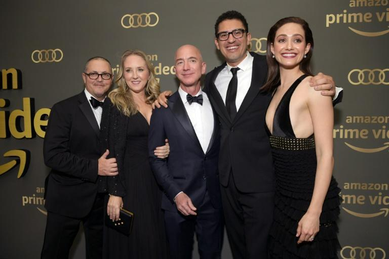 Jeff Bezos (center) is seen at the Amazon Prime Video's Golden Globe Awards After Party in 2019 highlighting the success of Amazon Studios
