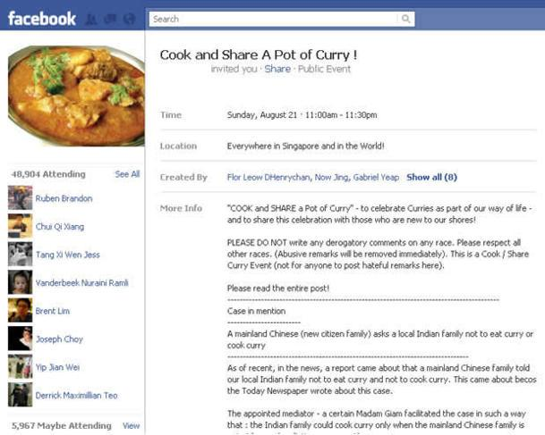 The law minister says that the 'curry case' took place almost seven years ago. (Facebook screengrab)
