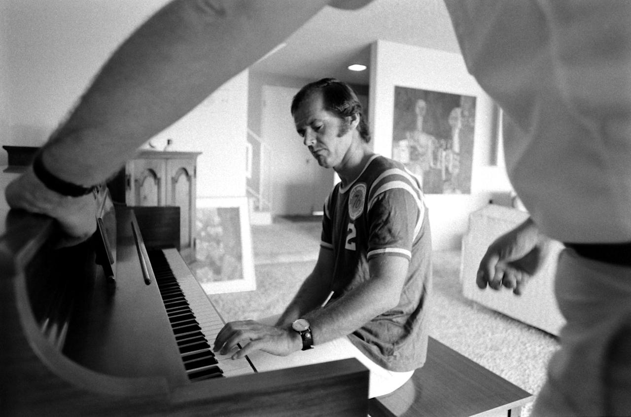 Not published in LIFE. Jack Nicholson at home in 1969, taking his first piano lesson with teacher Josef Pacholczyk, prior to starring in the 1970 classic, Five Easy Pieces.