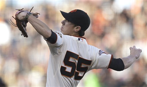 San Francisco Giants' Tim Lincecum works against the San Diego Padres in the first inning of a baseball game Saturday, April 20, 2013, in San Francisco. (AP Photo/Ben Margot)