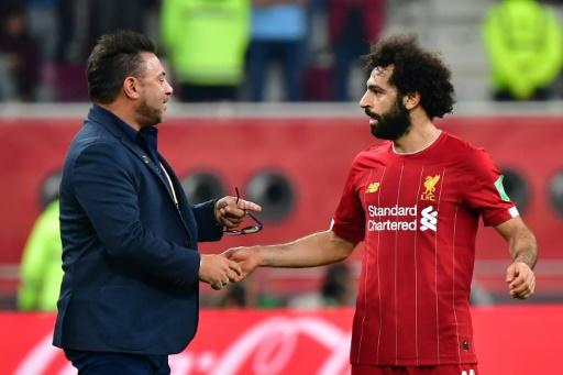 Mohamed Salah with Monterrey coach Antonio Mohamed after Liverpool's 2-1 Club World Cup semi-final win on Wednesday