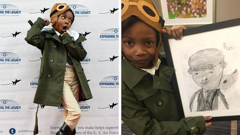 Noa Lewis poses with the portrait she drew of Bessie Coleman to present to Gigi. (Credit: Moniqua Lewis)
