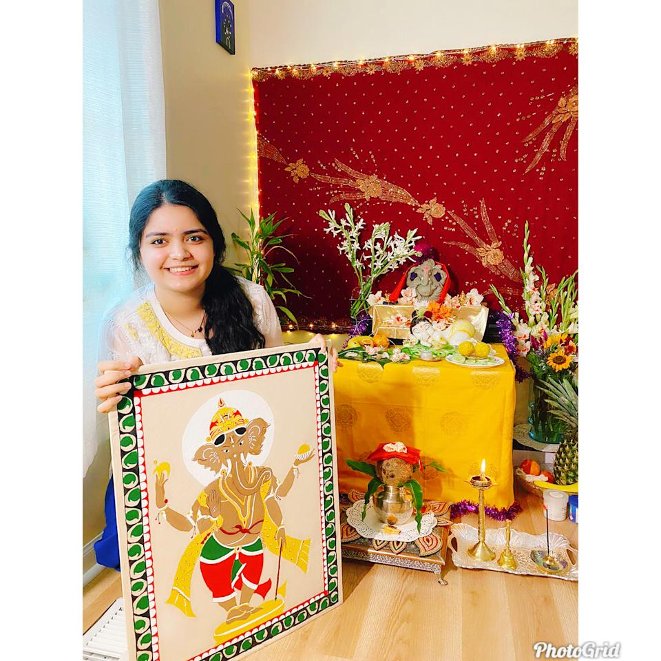 "Debasmita Mohapatra from USA: ""We feel lucky to celebrate together at home because of quarantine and my parents work from home. Completed my lord Ganesha Patachitra painting a famous art form from Odisha (on cotton cloths & natural color used)."" <br>"