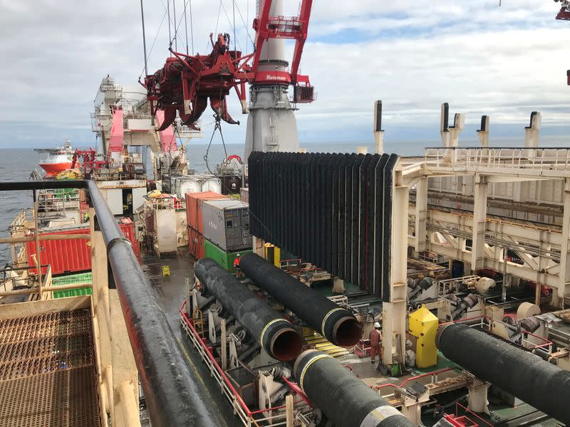 FILE PHOTO: Allseas' deep sea pipe laying ship Solitaire lays pipes for Nord Stream 2 pipeline in the Baltic Sea
