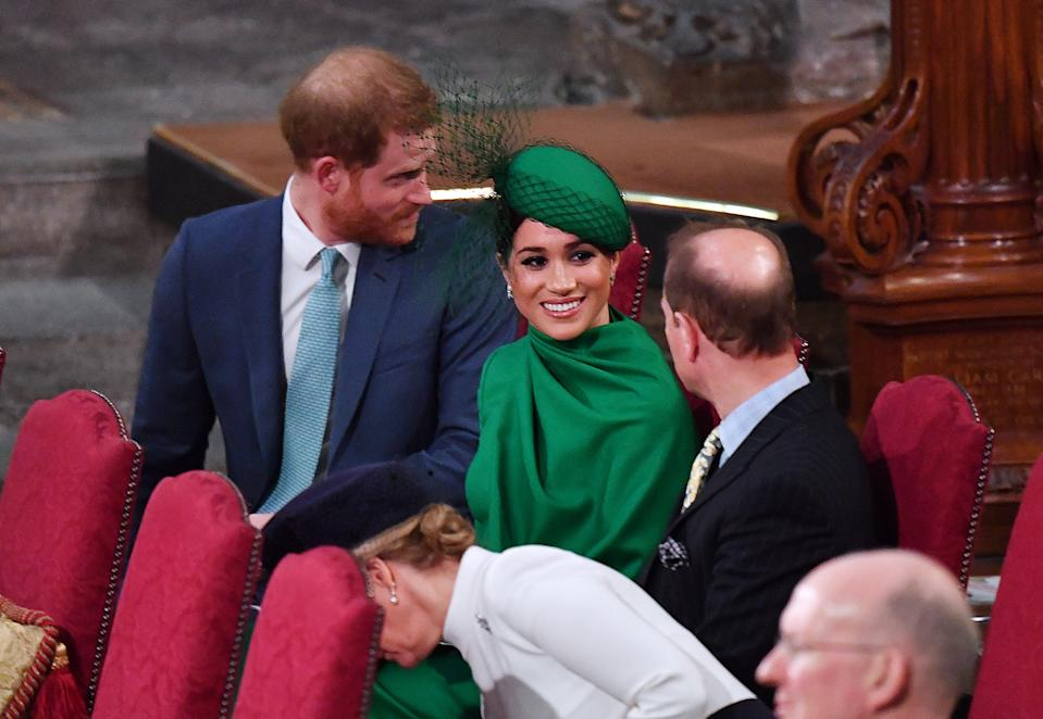 LONDON, ENGLAND - MARCH 09: Prince Harry, Duke of Sussex, Meghan, Duchess of Sussex, Prince Edward, Earl of Wessex and Sophie, Countess of Wessex attend the Commonwealth Day Service 2020 on March 9, 2020 in London, England. (Photo by Phil Harris - WPA Pool/Getty Images)
