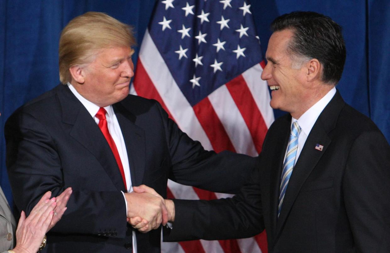 Trump greets Romney after endorsing his candidacy for president at the TrumpInternational Hotelin Las Vegas, Feb.2, 2012. (Photo: Steve Marcus/Reuters)