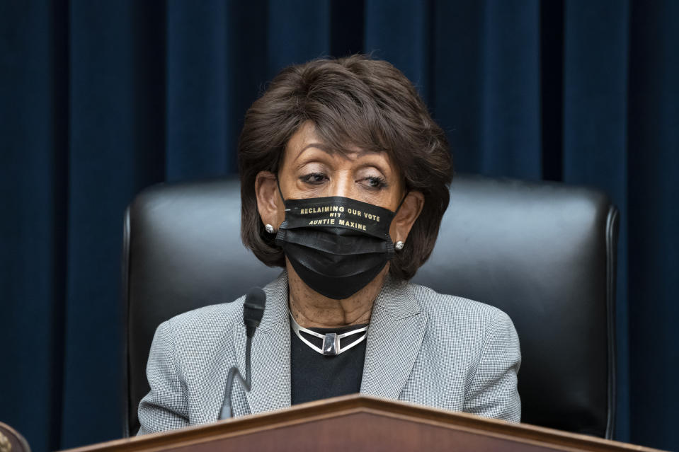 """House Financial Services Committee Chairwoman Maxine Waters, D-Calif., presides over a markup of pending bills, on Capitol Hill in Washington, Tuesday, April 20, 2021. Yesterday, the judge overseeing the trial of a former Minneapolis police officer in the death of George Floyd says recent comments by Rep. Waters are """"abhorrent"""" and says they could lead to a verdict being appealed and overturned. Rep. Waters had joined protesters on Saturday and called for protests to escalate if Derek Chauvin was not found guilty on murder charges. Chauvin's defense attorney had motioned for a mistrial in light of Waters' comments. (AP Photo/J. Scott Applewhite)"""
