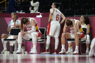 Spain players react at the end of a women's basketball quarterfinal round game against France at the 2020 Summer Olympics, Wednesday, Aug. 4, 2021, in Saitama, Japan. (AP Photo/Eric Gay)