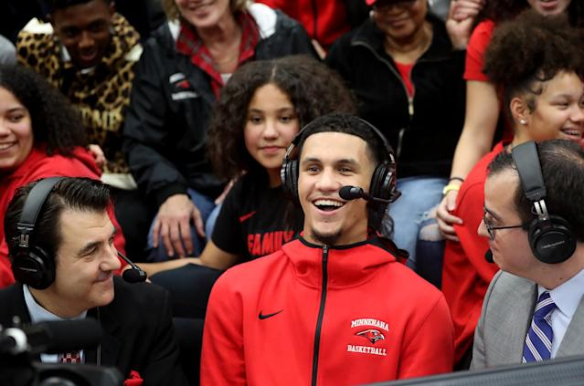 Five-star recruit Jalen Suggs, the highest-ranked recruit in Gonzaga history, didn't rule out playing professionally overseas next year instead on Friday. (David Joles/Star Tribune via Getty Images)