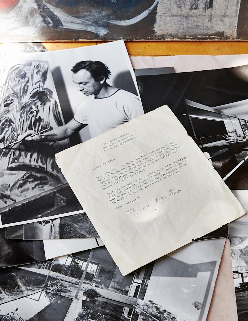 A letter from Richard Neutra's wife, Dione Neutra, along with photographs of the house taken by Julius Shulman.