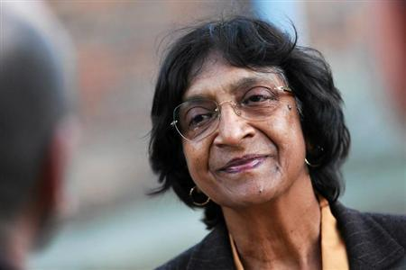 U.N. High Commissioner for Human Rights Pillay talks during visit to Auschwitz camp in Oswiecim