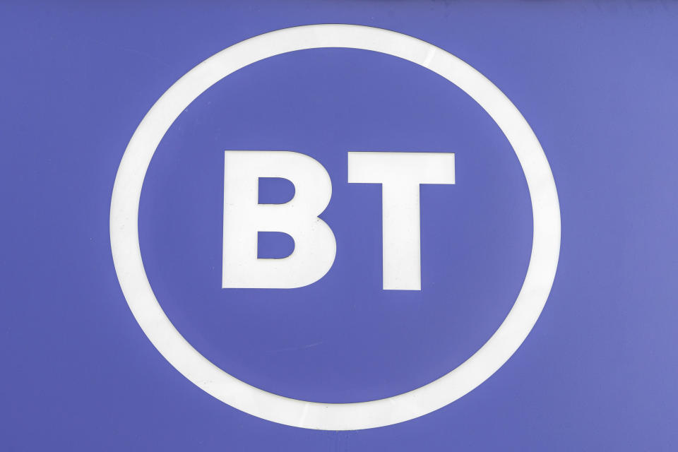 LONDON, UNITED KINGDOM - 2020/05/26: BT logo seen at Oxford Street. (Photo by Dave Rushen/SOPA Images/LightRocket via Getty Images)