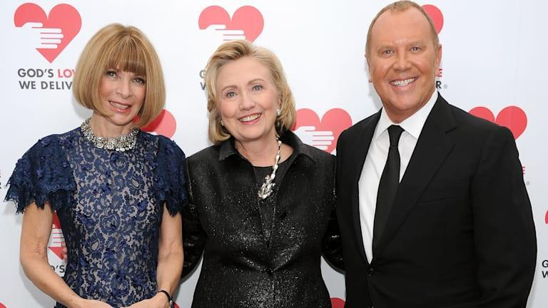 NEW YORK, NY - OCTOBER 16:  (L-R) Vogue editor-in-chief Anna Wintour, Hillary Rodham Clinton, recipient of the Michael Kors Award for Outstanding Community Service, and Designer Michael Kors attend God's Love We Deliver 2013 Golden Heart Awards Celebration at Spring Studios on October 16, 2013 in New York City.  (Photo by Dimitrios Kambouris/Getty Images for Michael Kors)