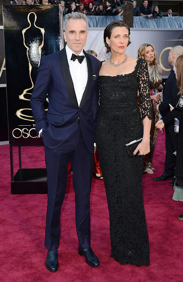 Daniel Day-Lewis and wife Rebecca Miller arrive at the Oscars in Hollywood, California, on February 24, 2013.