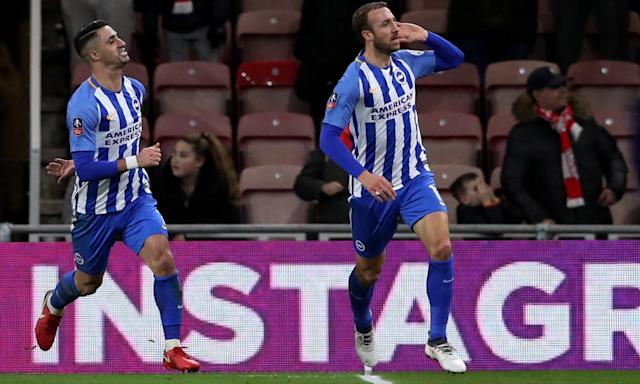 Glenn Murray celebrates scoring their goal against Middlesbrough.