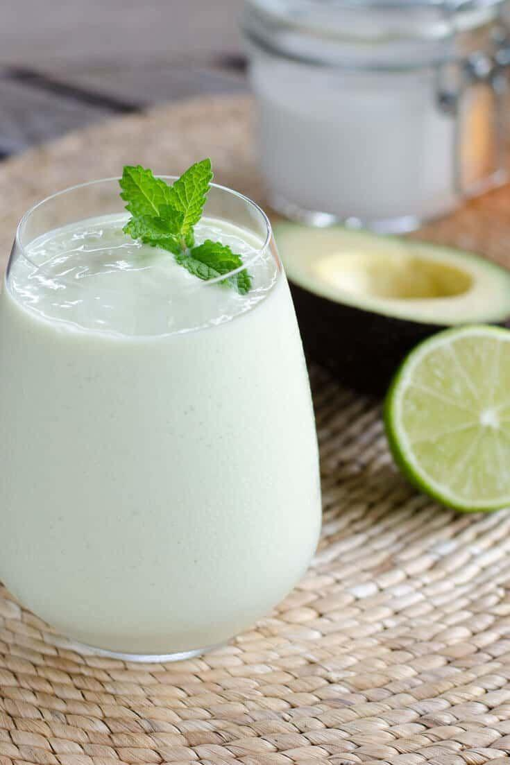"""<p>This easy key lime pie smoothie recipe can be made vegan with just one substitution: Use maple syrup instead of honey as your sweetener. The creamy, decadent, dessert-like taste of this smoothie makes it the perfect pick-me-up for any day. </p><p><a class=""""link rapid-noclick-resp"""" href=""""https://cookeatpaleo.com/paleo-key-lime-pie-smoothie/"""" rel=""""nofollow noopener"""" target=""""_blank"""" data-ylk=""""slk:Get the recipe"""">Get the recipe</a></p><p><em>Per one serving: 242 cal, 23 g fat, (17 g saturated fat), 8 g carbs, 3 g sugar, 14 mg sodium, 4 g fiber, 2 g protein</em></p>"""