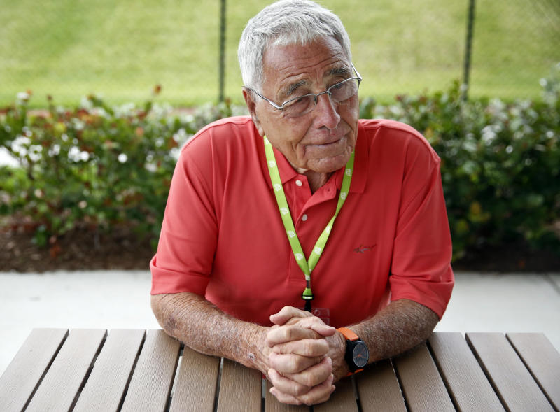 "HOLD for Nationals Trader Jack is Back story - Former major league baseball manager, Jack McKeon, 88, nicknamed ""Trader Jack,"" sits at a table during an interview with the Associated Press before an exhibition spring training baseball game on Saturday, March 16, 2019, in West Palm Beach, Fla. (AP Photo/Brynn Anderson)"