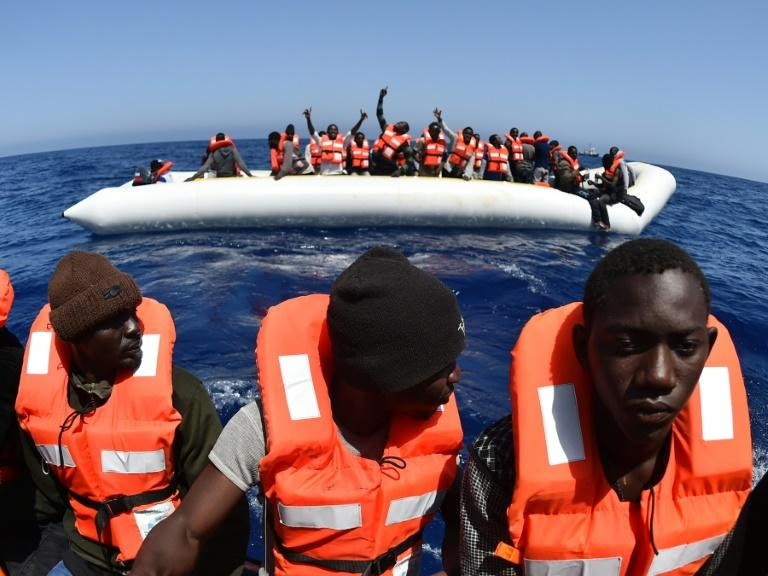 Migrants are rescued off the coast of Libya by SOS Mediterranee's Aquarius vessel in May 2016