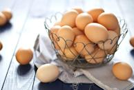 """<p>""""<a href=""""https://www.prevention.com/food-nutrition/a20506285/egg-recipes/"""" rel=""""nofollow noopener"""" target=""""_blank"""" data-ylk=""""slk:Eggs"""" class=""""link rapid-noclick-resp"""">Eggs</a> are not only a great source of high biological value protein—about 7 grams per egg—but also extremely versatile and better yet portable, which is great when you are confronted by that mid‐afternoon-too‐early‐for‐dinner‐but‐starving type of hunger,"""" says <a href=""""http://www.katarinaburton.com/"""" rel=""""nofollow noopener"""" target=""""_blank"""" data-ylk=""""slk:Katarina Burton"""" class=""""link rapid-noclick-resp"""">Katarina Burton</a>, M.S., R.D., bariatric dietitian at <a href=""""https://www.thehospitalgroup.org/"""" rel=""""nofollow noopener"""" target=""""_blank"""" data-ylk=""""slk:The Hospital Group"""" class=""""link rapid-noclick-resp"""">The Hospital Group</a>. """"One of my favorite mid‐week, quick dinner solutions is a spinach and feta omelet.""""</p>"""