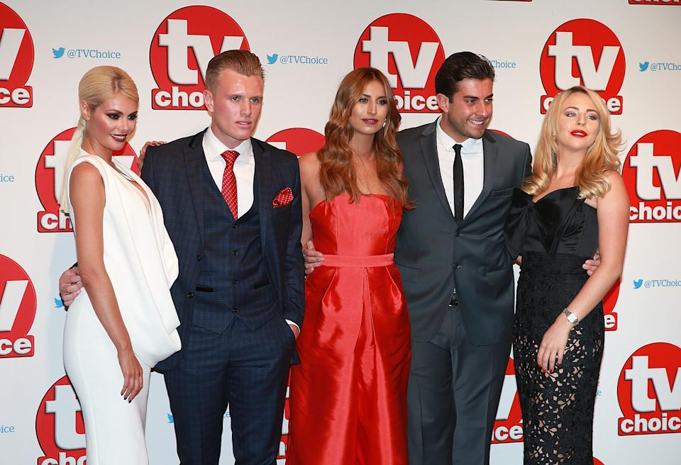 LONDON, ENGLAND - SEPTEMBER 07: Chloe Sims, Tommy Mallett, Ferne McCann, James Argent and Lydia Bright attend the TV Choice Awards 2015 at Hilton Park Lane on September 7, 2015 in London, England. (Photo by Chris Jackson/Getty Images)