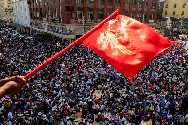 FILE PHOTO: Protest against the military coup in Yangon