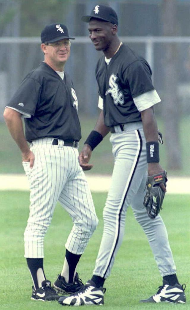 SARASOTA, MN - FEBRUARY 19: Michael Jordan talks with Chicago White Sox Manager Gene Lamont during the White Sox Spring Training Camp in Sarasota. (Doug Collier/AFP/Getty Images)