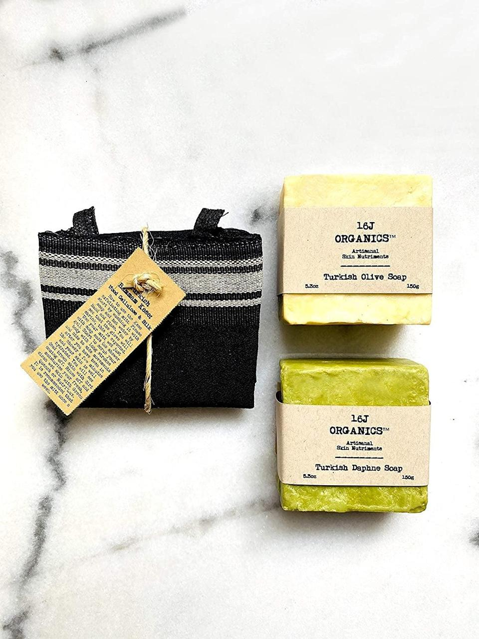 <p>Who doesn't love a good spa day!? Give yourself a relaxing pamper session with the <span>16J Organics Store Turkish Hammam Spa Bath</span> ($29), which includes extrathick kese body scrub mitt and artisanal olive and daphne soaps.</p>