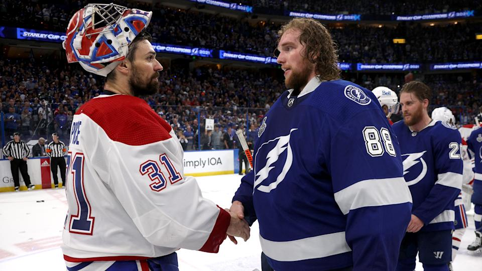 TAMPA, FLORIDA - JULY 07: Game Five of the 2021 Stanley Cup Final between the Montreal Canadiens and the Tampa Bay Lightning at Amalie Arena on July 07, 2021 in Tampa, Florida. (Photo by Dave Sandford/NHLI via Getty Images)