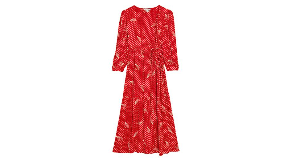 Star Print V-Neck Midaxi Wrap Dress