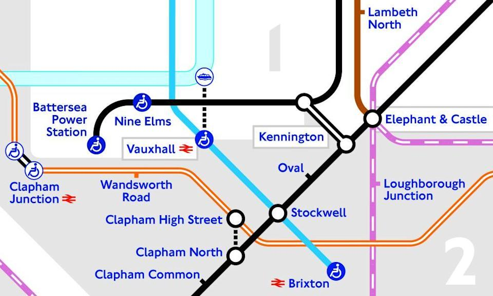 The London underground map showing two new tube stations on the extension of the Northern line.